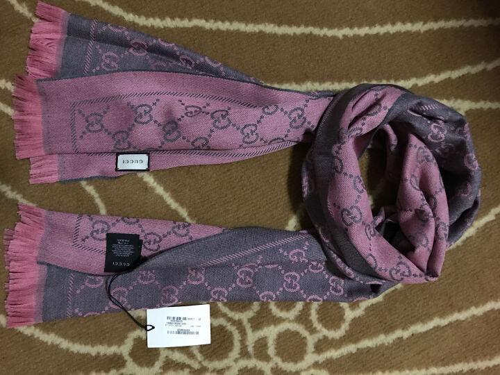 古驰 GUCCI 石墨/粉红色羊毛中长款女士围巾 133483 3G200 1272 晒单图