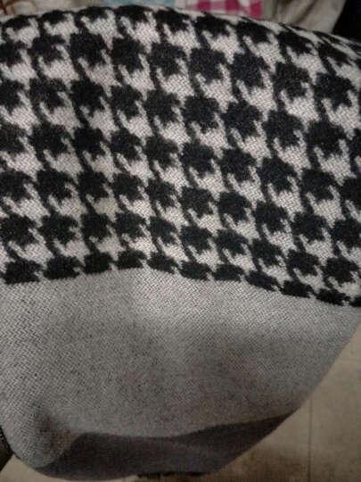 帛拉拉韩版围巾都敏俊几何斜纹毛线男士 来自星星的你都教授同款黑白红围巾 千鸟格男围巾灰色 190*40cm 晒单图