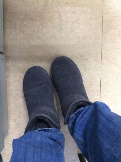 承发雪地靴男棉鞋男靴冬季情侣款加绒面包鞋 黑色 43 晒单图