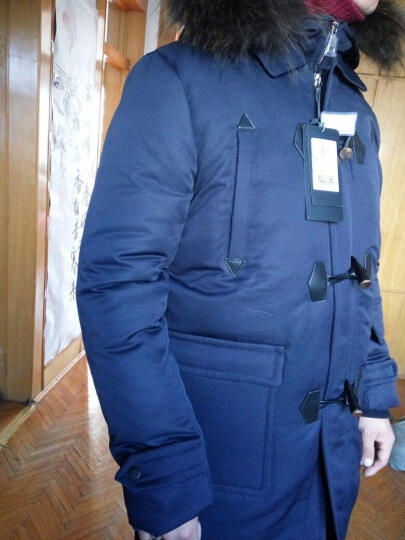 慕梵希 2016冬装新品中长款羽绒服男青少年加厚韩版修身男装牛角扣羽绒服 黑色 L/175 晒单图