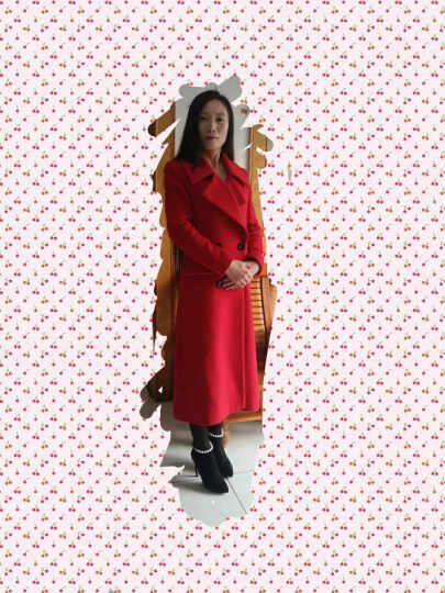 倾特 双排扣超长款羊毛呢大衣女2016冬装欧美羊绒过膝修身呢子外套加厚HB5877 粉红色 XL 晒单图
