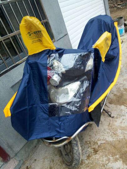 正招气囊式加大加长助动车摩托车雨披 电动车雨衣 单人318藏青+充气筒 均码 晒单图