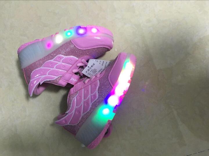 爱莫格(AIMOGE) 秋冬款暴走鞋女童鞋男童儿童 LED带灯款爆走鞋轮子鞋 新款MD网面双轮绿色 35/约22.5cm 晒单图