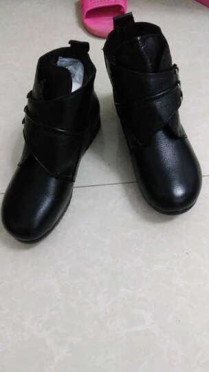 雅路世家新款真皮女靴平底大码妈妈鞋加绒防滑中老年女棉鞋坡跟短靴舒适保暖棉靴子 9009黑色厚绒 38 晒单图