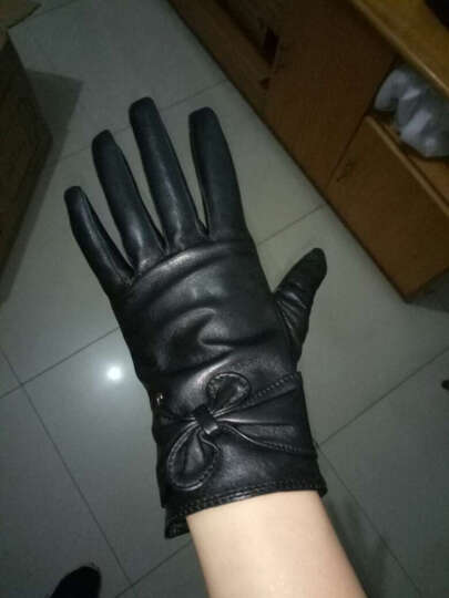 皮尔卡丹真皮皮手套女士秋冬季保暖厚绒里开车骑车防风御寒羊皮手套 厚绒里黑色 L(160-165CM) 晒单图