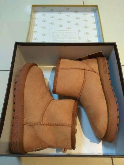 骆驼(CAMEL) 女鞋   中筒加厚短靴简约保暖舒适平底雪地靴 A64502619驼色 37 晒单图