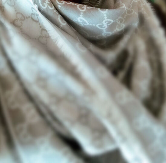 GUCCI古驰围巾双G印花羊毛丝巾方巾披肩281942 银灰色号1962 晒单图