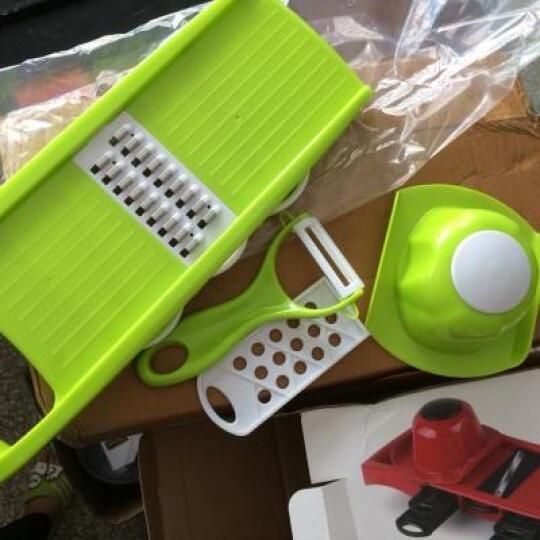 佐优多功能切菜器切丝器切片器蒜泥器 刨丝器切土豆丝擦丝器 厨房用品六件套 送刨刀和包饺子器 绿色 晒单图