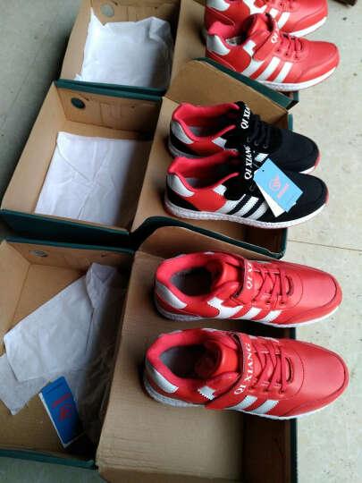 旗翔童鞋儿童运动鞋男女童秋冬新款加绒加棉鞋跑步鞋 大红色 38码 晒单图