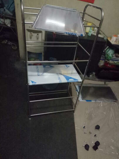 尚辰鑫 不锈钢置物架厨房微波炉储物收纳火锅层架子 四层50x35x100 晒单图