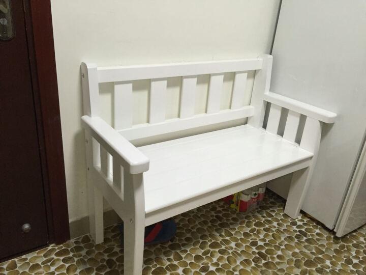 港蒂诗实木长椅子沙发椅阳台椅田园白色长椅室外休闲椅靠背椅 180*55*80 晒单图