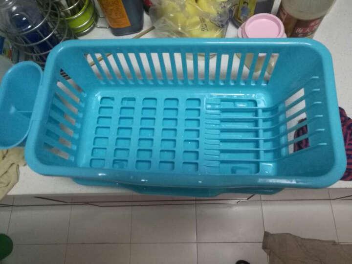 梦思园沥水架碗碟架 单层塑料碗碟柜带水槽 厨房收纳篮 碗碟套装 蓝色加厚款 晒单图