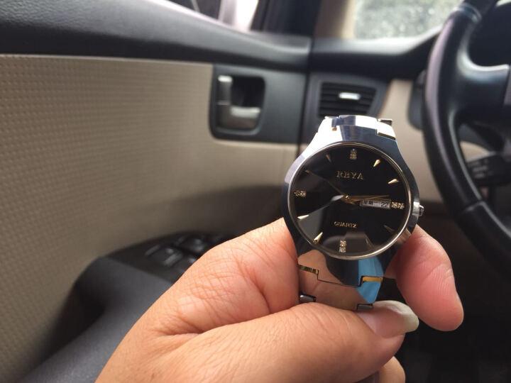 罗比亚(RBYA)手表钨钢防水石英表男士手表日历男表商务时尚钢带手表wn.08 6035双历间金女款 晒单图