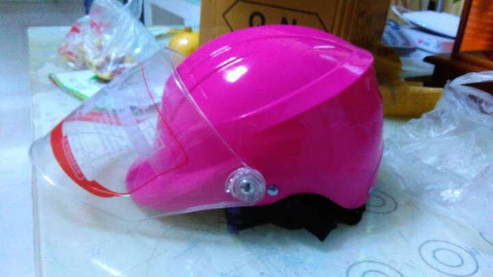 强尼电动摩托车头盔冬季男士电动车半覆式安全帽女士四季保暖多色半盔防雾护脖头盔 ZDK-376粉色 晒单图
