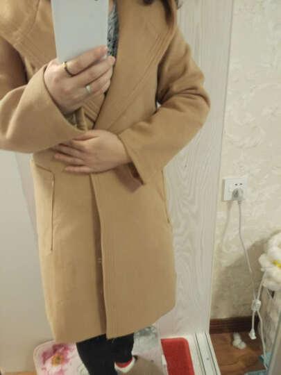 莎蕾雅2018秋冬装韩版修身连帽中长款毛呢外套风衣 女355 粉红色 2XL 晒单图