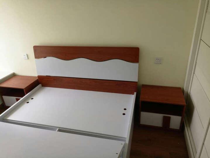 杜维 床 1.8米板式单双人床高箱气动储物简约1.5米家具 880-3木纹色床体床+床垫 1.5*2普通床体 晒单图