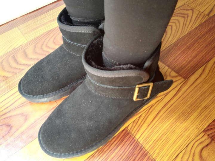 狄妮诗 冬季雪地靴女磨砂牛皮加厚雪地棉鞋时尚平底短靴皮带扣保暖女鞋子 黑色 37 晒单图