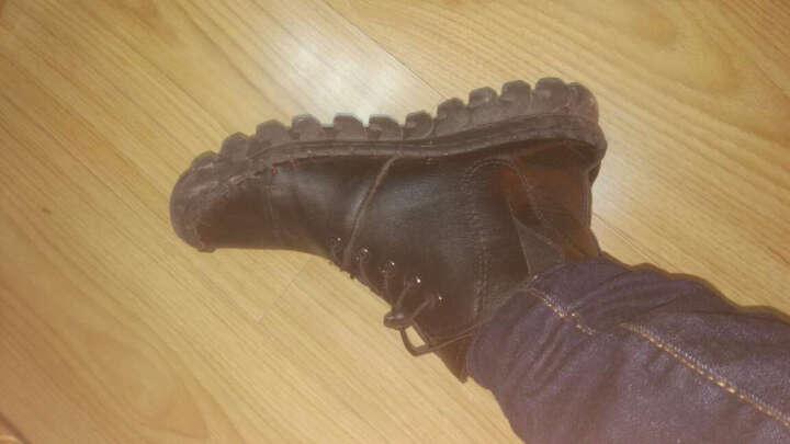 fullmir短靴女棉鞋加绒保暖雪地靴冬季新款高帮平底休闲鞋女豆豆鞋女系带平底软底女鞋 黑色 38 晒单图