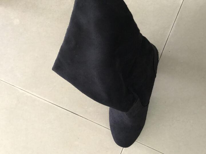 薇嫚 短靴女粗跟2018新款显瘦秋冬女靴中筒靴大码加绒瘦腿高跟袜靴子 杏色单里(6cm) 34 晒单图