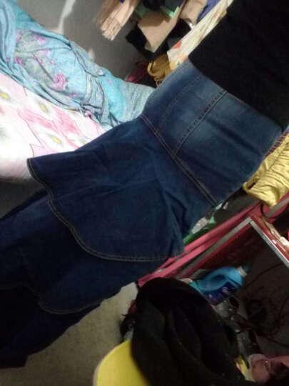朵曼奴 2016高腰显瘦不规则鱼尾裙摆水洗牛仔半身裙短裙女新 蓝色 S 晒单图