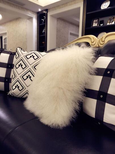裘朴 滩羊卷毛 纯羊毛 冬季毛绒抱枕靠垫 靠枕床头 办公室靠垫汽车抱枕靠垫 粉红色 40cm*40cm 晒单图