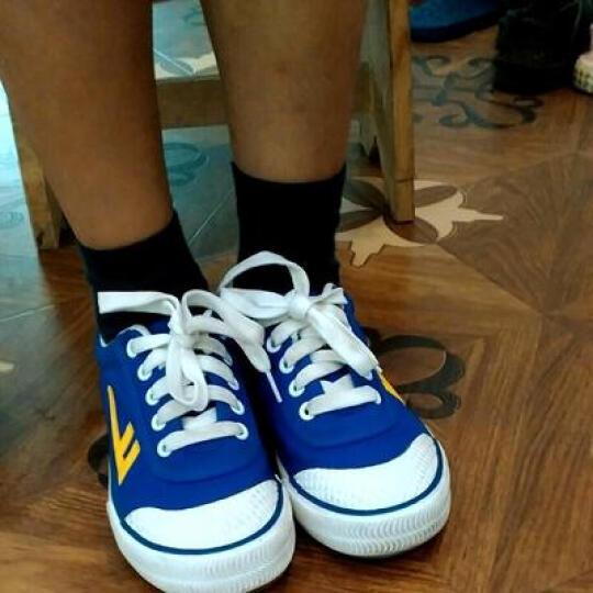 回力(Warrior) 男女儿童帆布鞋/儿童碎钉足球鞋/品牌童鞋 蓝色 33内长21cm 晒单图