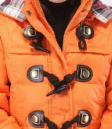 千仞岗童装羽绒服 牛角扣纯色连帽拉链中长款女童羽绒服 009 橙色039 140 晒单图