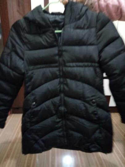 奥图雅 2017冬季新款韩版时尚A字型斗篷羽绒服女中长款加厚连帽修身外套8825 湖蓝色 L 晒单图