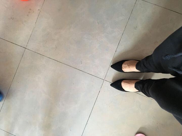 爱米兰2018秋单鞋女尖头粗跟高跟皮鞋黑色中跟正装工作职业女鞋 灰色【无货】 小码定做33-可退换 晒单图