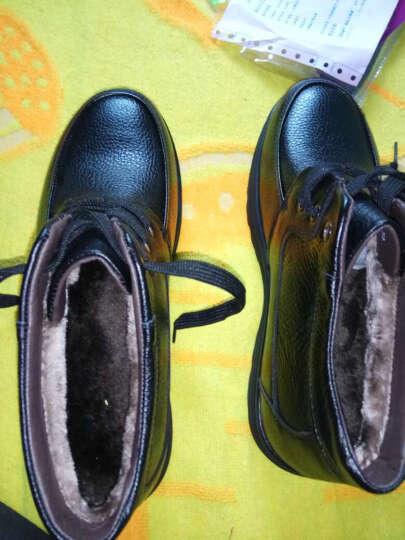 华洛威男鞋冬季新款棉鞋 男士皮鞋商务休闲中老年加棉保暖老人鞋爸爸高帮短靴子 棕色套脚 43 晒单图