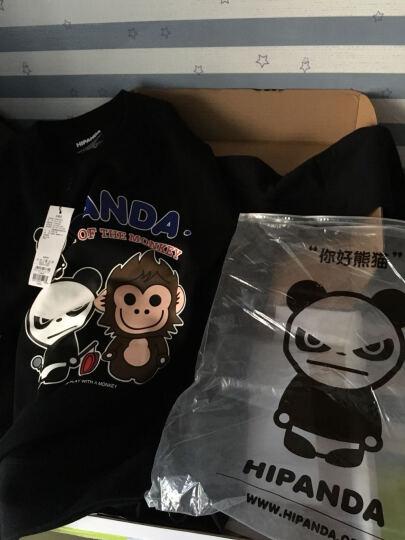 HIPANDA 你好熊猫 男款 敲锣熊猫与猴子圆领卫衣 蓝色 170/M 晒单图