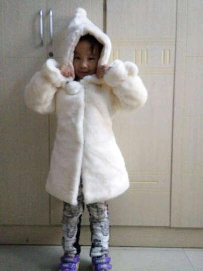 丘米禾(QiuMiHe) 童装2017新款中大女童外套皮草6-8-10岁冬装公主毛毛上衣 米白色 160 晒单图