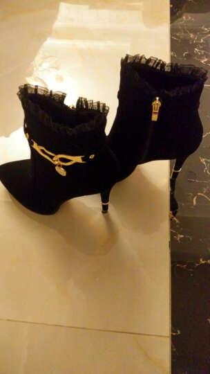 邻家天使短靴女秋冬新款绒面水钻防水台细跟高跟鞋 LJ7186-22加绒黑色 35 晒单图