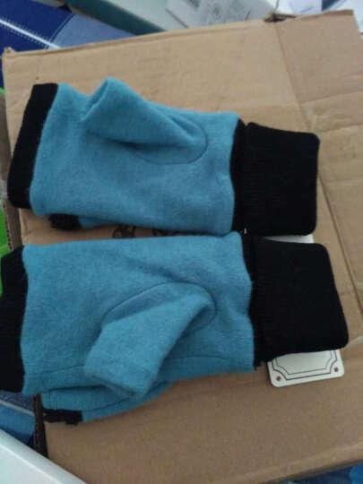 乐为女士手套女秋天冬季可爱半指两用羊毛保暖手套加绒加厚女生学生露指女式14FD171 D款驼色 晒单图