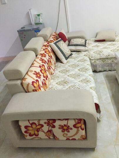 琪幻  简约现代布艺沙发贵妃转角组合 大小户型客厅可拆洗布艺沙发 土豪金色 双人+左贵妃2.4米尊贵版送地毯 晒单图