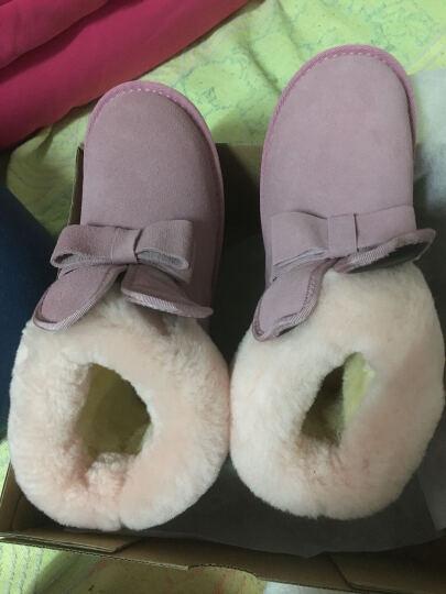 Lordel女鞋雪地靴短靴女内增高冬季新品翻口羊毛毛女靴子平底真皮学生棉鞋子 粉色平底 38 晒单图