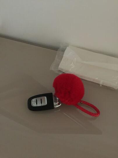 斯丽卡 獭兔毛球钥匙扣车用毛绒挂饰女士编织绳钥匙链钥匙环时尚包挂件 大红色毛球 晒单图