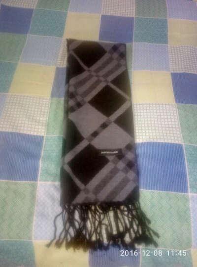 JASONVOGUE商务男士长款围巾时尚拉绒保暖围巾男冬季 2件减10 黑色经典 晒单图