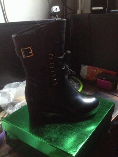 盾狐秋冬新款女靴 坡跟中筒靴英伦马丁靴女保暖雪地靴高跟女鞋 DH5832-1黑色不加绒 38 晒单图