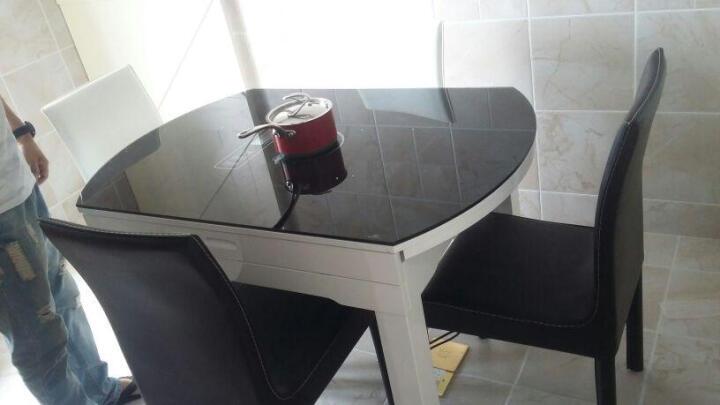 俏客 圆形餐桌餐椅套装 伸缩折叠餐桌多功能餐桌椅组合简约钢化玻璃餐桌小户型实木餐桌6人座 (1.2米)黑白色桌面(不含电磁炉) 单餐桌 晒单图