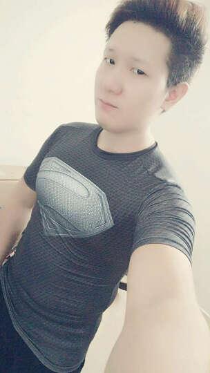 狼痕健身服男紧身衣速干T恤健身房运动高弹男士跑步训练长袖T恤 白色-短袖 S 晒单图