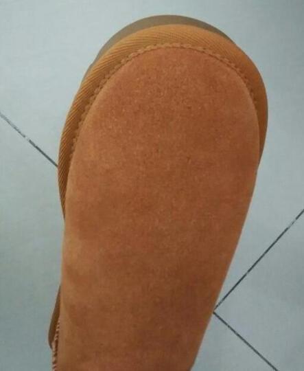 Qu&Gu 雪地靴女 中筒靴女靴冬季翻毛牛皮加绒保暖防滑平底休闲女士棉鞋 咖啡色 36 晒单图