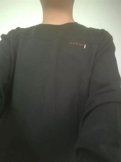Jeep吉普新款长袖T恤男 秋冬纯色圆领打底衫舒适弹力上衣 军绿色 M/170 晒单图