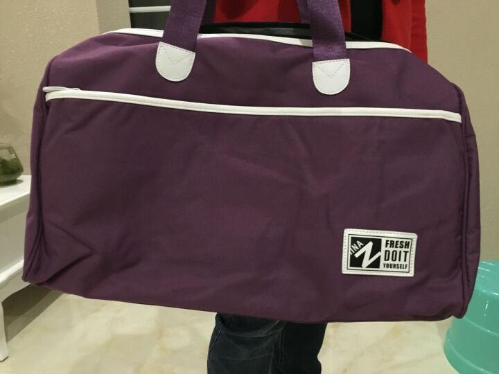 智纳(ZZINNA)旅行包男大容量韩版手提健身包多功能男女旅游包商务出差行李包短途旅行袋 紫色-大号 单肩/斜跨 晒单图