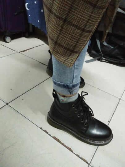 海月姬女靴秋冬新款短靴真皮马丁靴女靴单靴平跟厚底机车靴女靴子198 黑色单里 38 晒单图