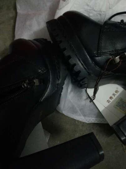 古奇天伦冬粗跟女靴潮女短靴加绒高跟女靴英伦风修脚保暖马丁雪地靴子 女鞋 黑色 37码 晒单图