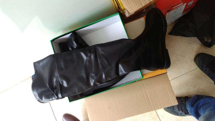 盾狐高筒靴秋冬新款平跟靴子女高筒弹力靴隐形内增高过膝长靴子 时尚厚底松糕女靴子 6012黑色盾狐 37 晒单图