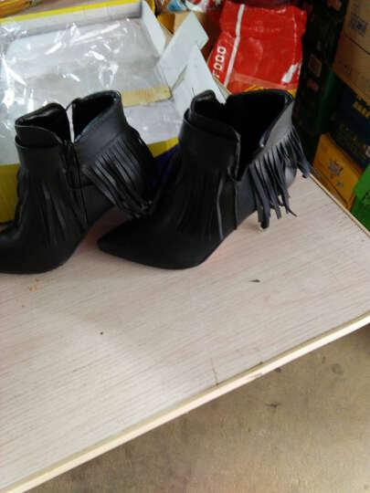 歌山品悦 秋冬新款时尚潮女短靴子粗跟女靴 灰色 38 晒单图