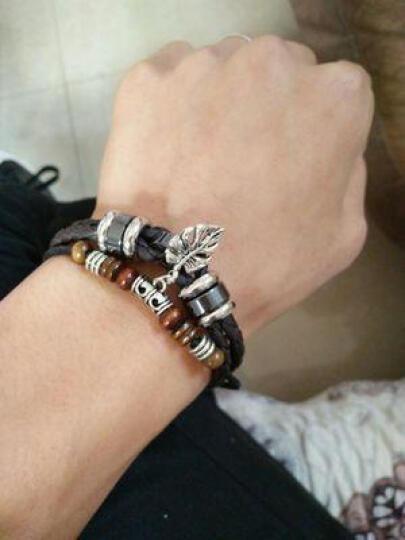 GDE 男士复古韩版皮绳手链 十字架情侣手链女学生饰品 免费刻字 手表扣十字架 晒单图