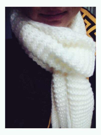 幽米youmi保暖围巾 韩版纯色粗毛线围巾女冬季学生情侣超长款加厚保暖针织围脖秋冬天 白色 晒单图